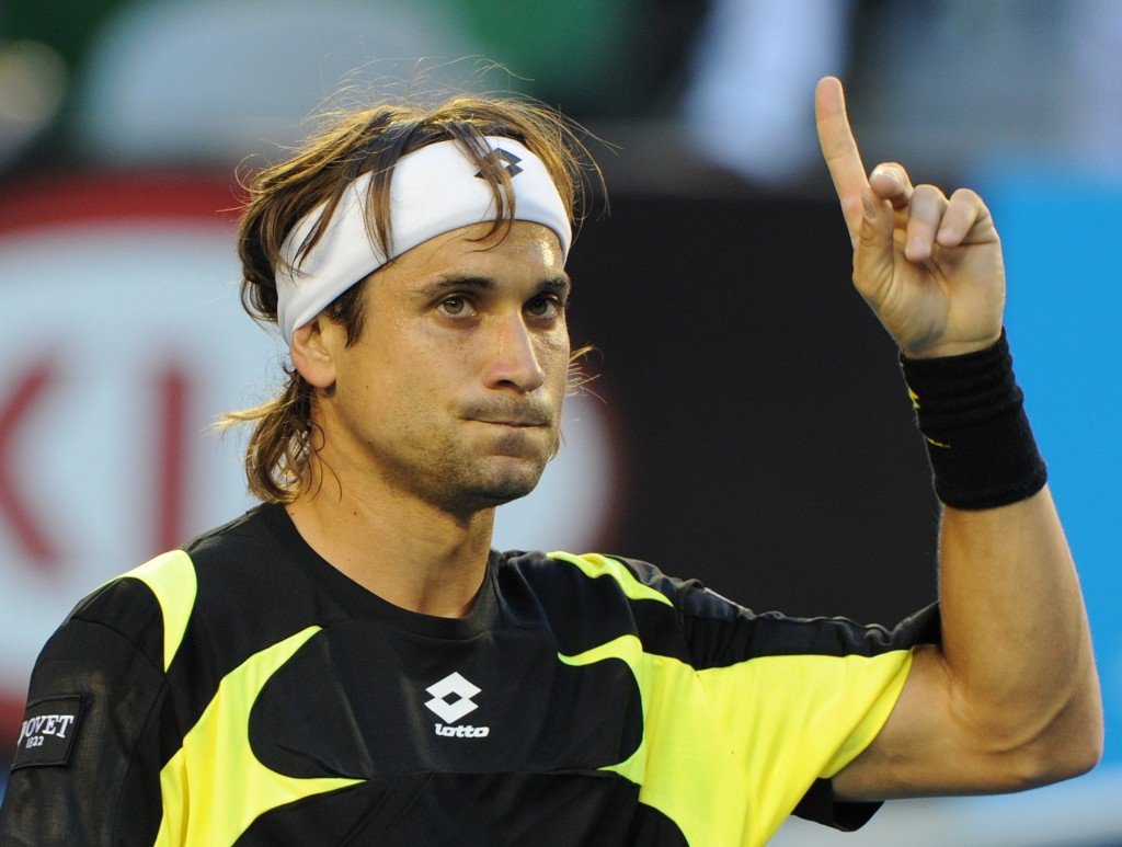 David Ferrer of Spain gestures during his men's singles quarter-final match against Rafael Nadal of Spain on the tenth day of the Australian Open tennis tournament in Melbourne on January 26, 2011.      Ferrer won the first set 6-4 as play continues.                                 IMAGE STRICTLY RESTRICTED TO EDITORIAL USE    ?    STRICTLY NO COMMERCIAL USE      AFP PHOTO/William WEST  TENNIS-OPEN-AUS